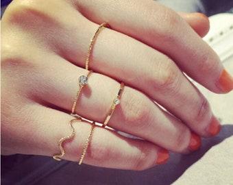 5 gold midi rings, above knuckle rings, stacking rings, women mid rings, finger rings, boho rings, midi rings set