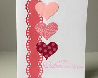 Valentine's Day Card - Handmade Greeting Card - Love & Hearts