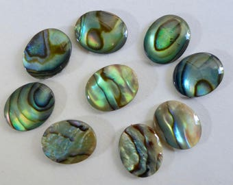 9.5x7mm Natural Abalone Shell Flat Oval Beads (10)