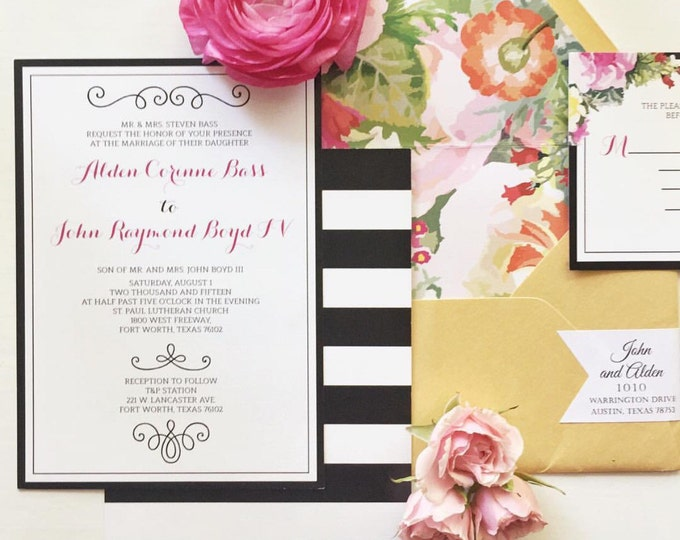 SAMPLE 5x7 Modern Pink and Gold Floral Wedding Invitation with Black & White Stripes Includes Envelope Liner with RSVP