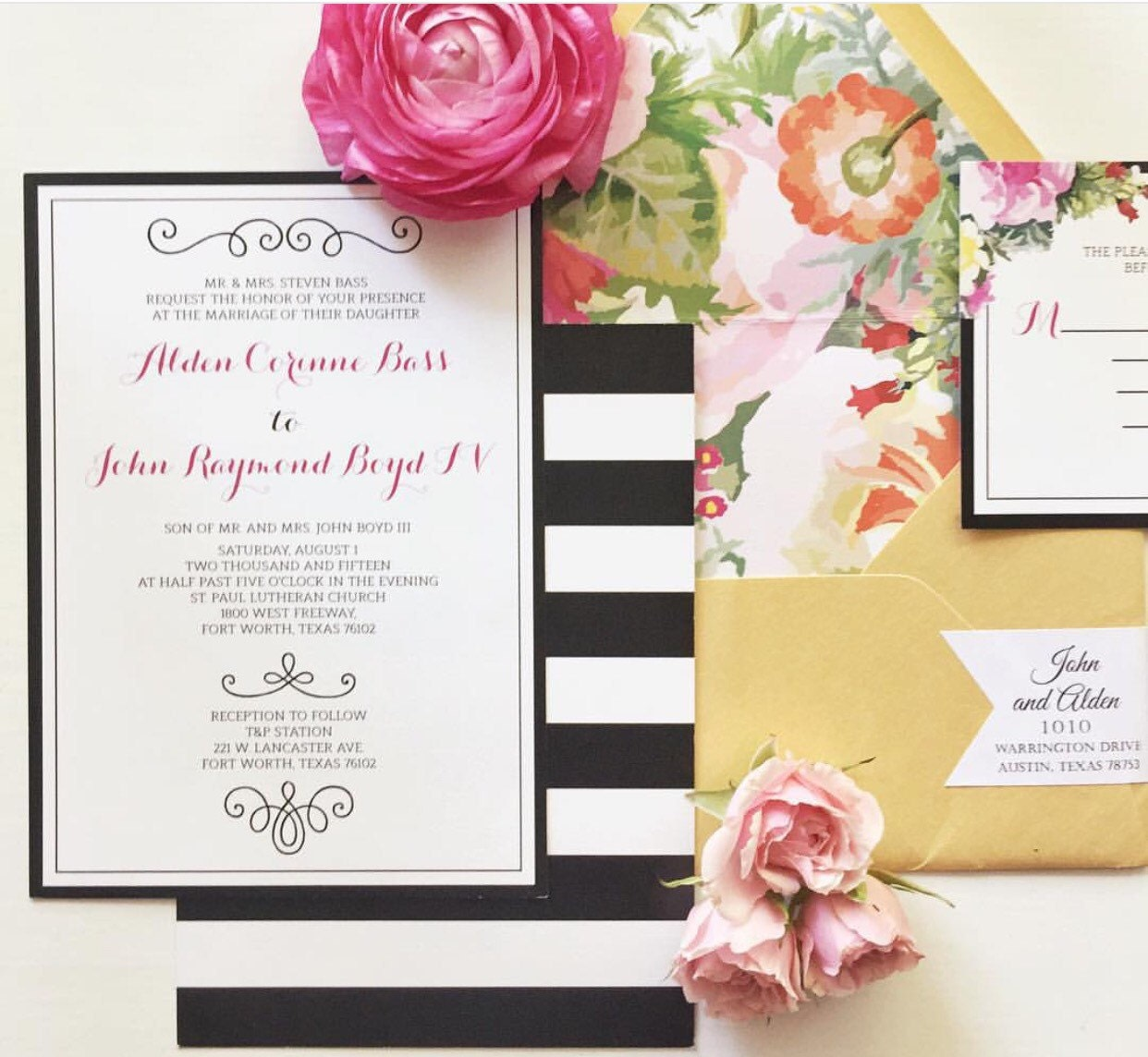 5x7 Modern Pink and Gold Floral Wedding Invitation with Black