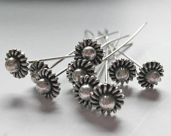"""10 Silver Plated Flower Head Pins 50mm / 2""""  long"""