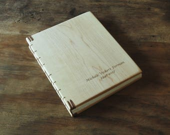 custom engraved wood memorial guest book wedding or cabin guestbook maple wood - celebration of life  personailzed journal  - made to order
