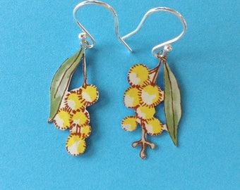 Golden wattle flower vintage tin earrings