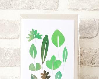 Green Leaves Art Print Greetings Card