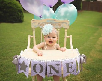 1st BIRTHDAY GIRL / One highchair banner / 1st birthday banner / High chair banner / First birthday girl / Highchair banner girl