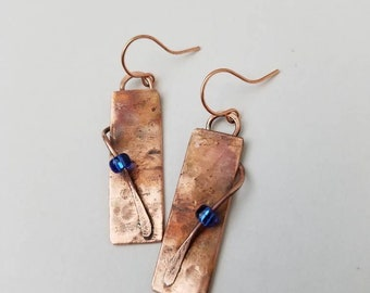 Upcycled repurposed copper rectangle earrings with blue beads