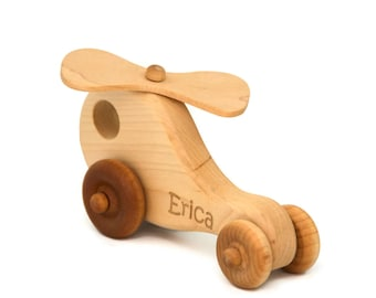Wood Toy Helicopter - Personalized - Great for Baby Shower, Birthday, Nursery Decor