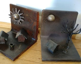 One Handmade metal welded bookend, book end, storage - one of a kind metal art - handmade metal book ends - day and night artwork - tree