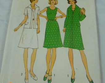 6856 Simplicity Two Sizes 10 1/2 & 12 1/2 Bust 33 35 Half Size Pattern Unlined Jacket in Two Lengths Dress in Half Sizes Pattern Uncut 1975
