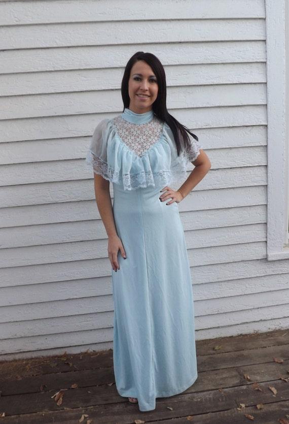 70s Pale Blue Maxi Dress Lace Light Blue Formal Gown Vintage
