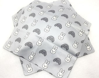 Bunny rabbit lop ear pet black and white Easter microfiber cloth for glasses or screen