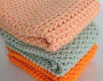 Crochet Washcloth, Crochet Dishcloth, 100% Cotton, Handmade Washcloth, Wash Cloth,Eco Friendly, Set of 3