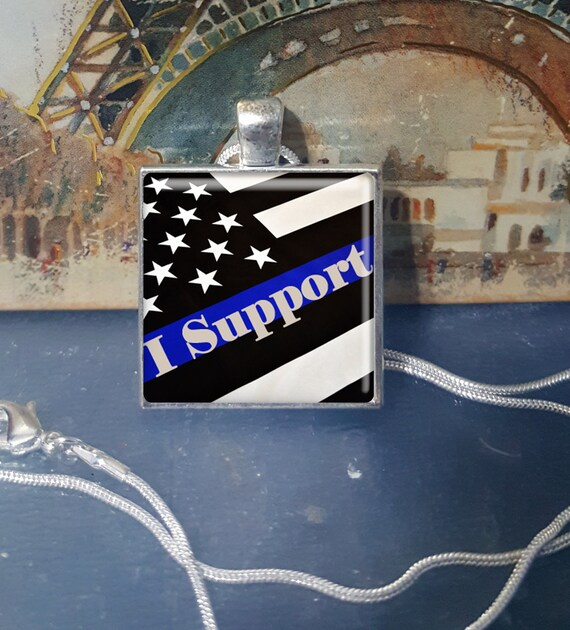 Thin Blue Line - I Support. Silver Tray Necklace