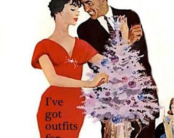 "FUNNY VINTAGE HOLIDAY card. Vintage/retro christmas/holiday illustration card ""Naughty or nice"" card [814-172]"