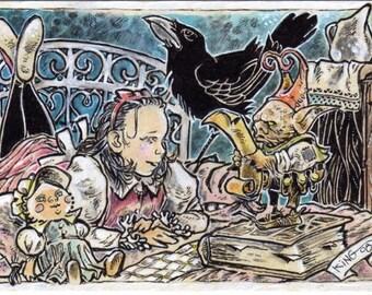 The Judgment ACEO ATC Fantasy Illustration Drawing Canvas Cloth Print