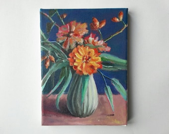original acrylic painting, plant painting, small painting, botanical art, 5x7 painting, acrylics on canvas, small wall art