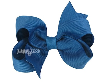 Teal Hair Bow - Baby Toddler Girl - Solid Color 3 Inch Boutique Hair Bow on Alligator Clip Barrette Dark Teal Blue