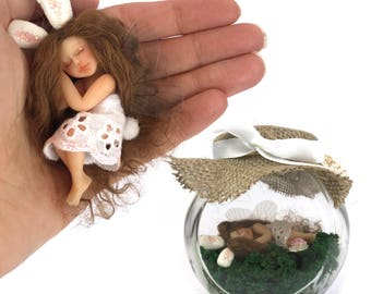 Realistic hand crafted miniature Fairy Jar Bunny