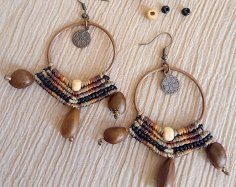 Natural beads macrame earrings on hoop