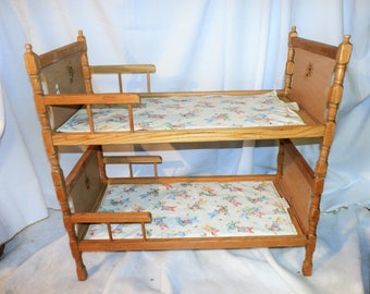 Mid-century Wood Doll Bunk Beds c.1950