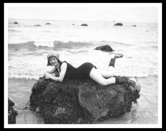 Vintage Historic Reproduction Photo French Bathing Beauty Unframed