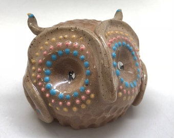 Handmade Owl Rattle in Light Brown with Gold Eyes and Blue and Pink Accents