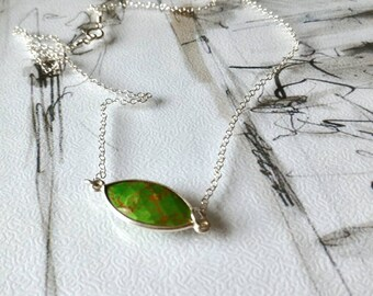 Green Turquoise Chain Necklace,Turquoise Pendant Necklace, Silver Turquoise Chain Necklace, Marquise Turquoise Pendant, Mother's Day Gift