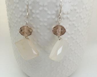 Sterling silver 925 chalcedony  czech glass earrings