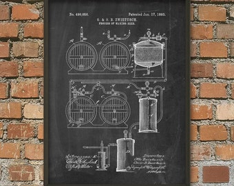 Beer Brewing Patent Print #5 - 1893 Beer and Ale Brewing Patent Wall Art Poster - Brewing Industry - Brewery Art - Beer Making Process