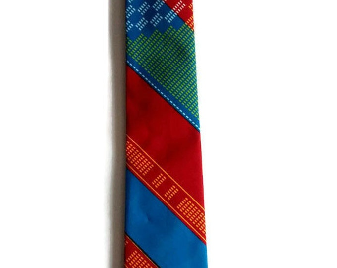 Mens Multicoloured Red African Print Kente Necktie With Pocket Square And Storage Pouch Set