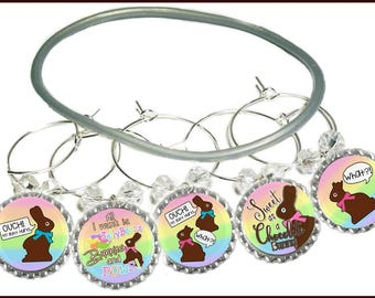 "Easter ""Ouch"" Wine Glass Charms (5 Pack)"