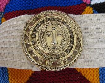 Vintage BELT buckle wide strap Aztec theme 1980s fashion