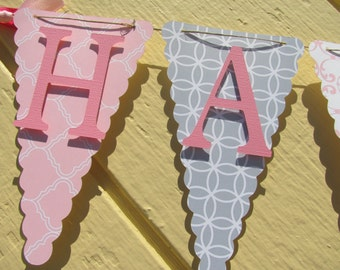 Light Pink and Gray Happy Birthday Banner, Birthday Banner, Happy 1st Birthday Banner, Birthday Decorations