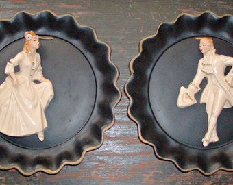 2 Vintage Victorian Universal Statuary Wall Plaques