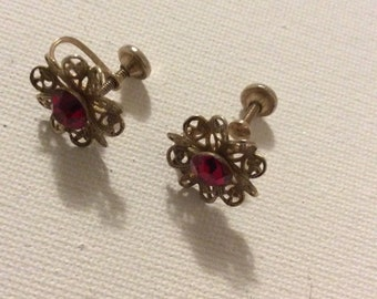 Vintage Red Flower Screw Back Earrings