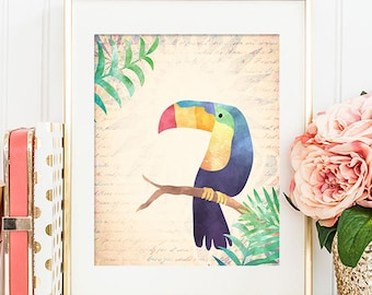 Toucan - 8x10 Bird Art, Bird Print, Bird Artwork, Bird Art Print, Printable Wall Art, Toucan Art, Bird Wall Art, Nursery Art
