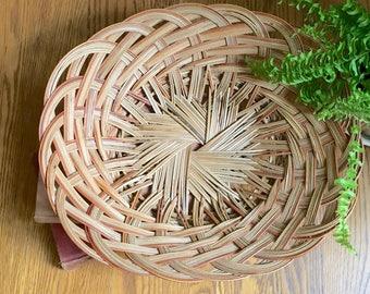Vintage Woven Basket, Open Weave, Oval Shape, Bread Basket, Boho Decor, Bohemian, Wall Decor