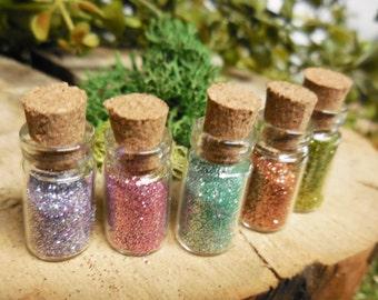 Rainbow Fairy Dust Glass Bottles ~ Pixie Dust Corked Glass Bottles Filled w/ Glitter ~ Tiny Wish Bottle ~ Fairy Garden Accessory & Supplies