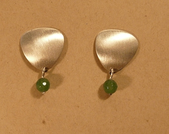 Sterling Silver Brushed Earrings With Emerald Bead