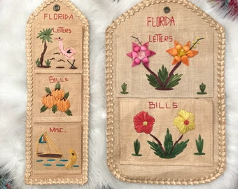 Vintage '80s Hand Woven Mail Organizer/ Florida/ Bohemian Decor/Wall Decor/ Mail Organizer