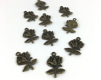 Set of 10 charms rose bronze metal