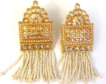 Jhumka Earrings, Indian Earrings, Kundan Jewelry, Pearl Jhumki,Kundan Jhumkas,  Gold Jhumki,Bollywood Earrings,Indian Jewelry, Polki Set, US