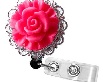 ID Badge Reel Bright Pink Rose on Silver Filigree - Resin Flower Cabochon on Chrome Retractable Badge Holder 360