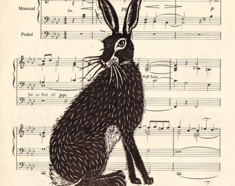 "Handmade lino print ""Musical Hare"" on old an old A4 music sheet. Signed by Laura Robertson"
