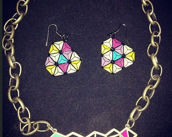geometric jewelry, geometric earrings, geometric necklace, geometric jewelry set, necklace and earring set, geo jewelry, geometric jewelry