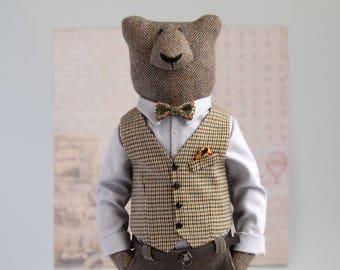 Papa bear soft sculpture, totem animals for personalized gift , hipster animals for bear lover , teddy bear ooak , human bear , spirit bear