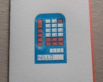 Retro Calculator Letterpress Card & Envelope