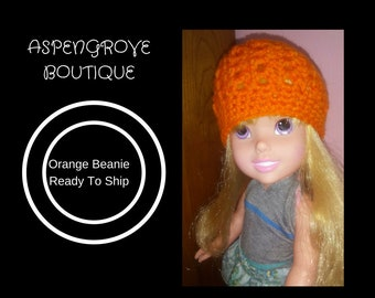 14 inch doll beanie crochet doll hat doll clothes doll clothing orange ready to ship