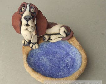 Basset Dog Ceramic Dish Sculpture